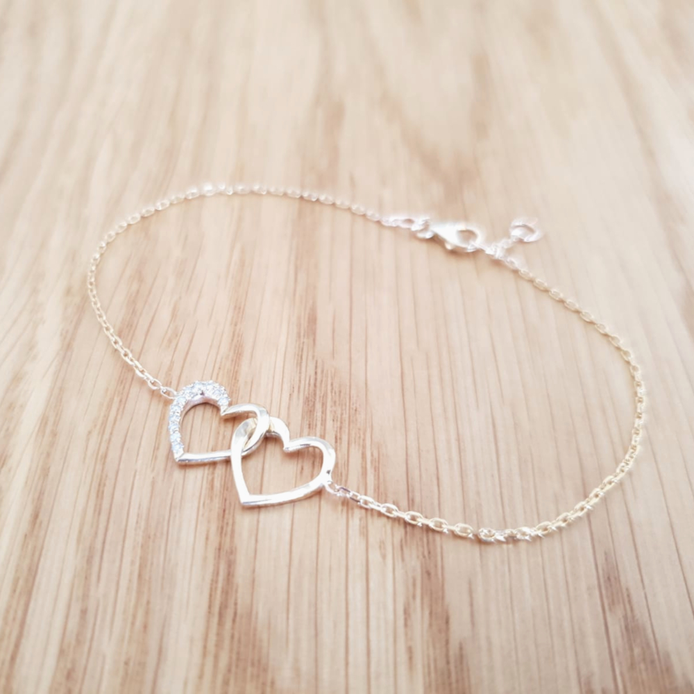 Unique Heart in Heart Diamond Bracelet