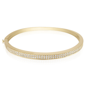 A stiff bracelet -half Diamonds half Gold