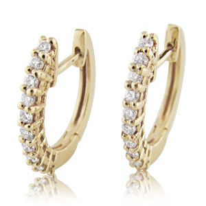 Diamond 0.20ctw Half-Eternity Huggie Hoop Earrings in 14k Gold