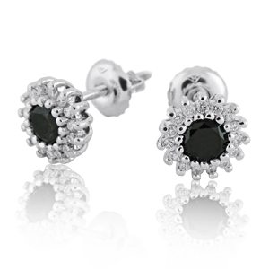 Diana Diamond Earrings -With Black Diamonds.