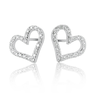 Heart Harrings Studded With Diamonds