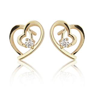 Heart Stud Earrings Inlaid With Diamonds