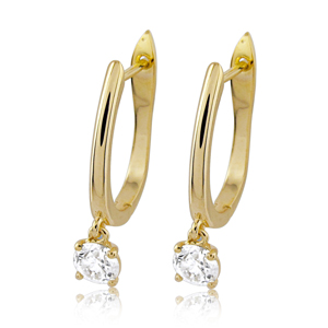 0.50 Carat Round Diamond Hoop Earrings in 14K Gold