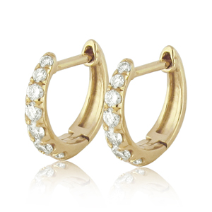 Fine Hoop Earrings With Diamonds