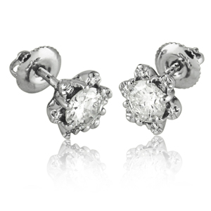 Diamond Flower Earrings Set With 1.00 CT
