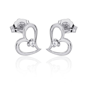 Delicate Heart Shaped Diamond Earrings