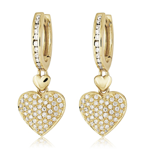 Hanging Heart Diamond Earrings