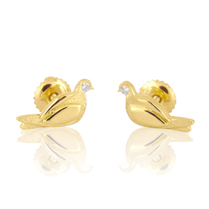 """Two Birds"" Diamond Stud Earrings"