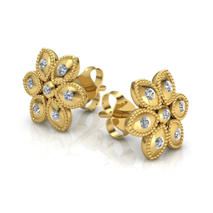 14K Yellow Gold 0.20ctw Flower Diamond Stud Earrings  - Special Edition!
