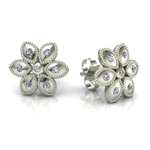 14K White Gold 0.20ctw Flower Diamond Stud Earrings  - Special Edition!