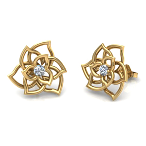 14K Yellow Gold 0.14ctw Flower Diamond Stud Earrings - Special Edition!