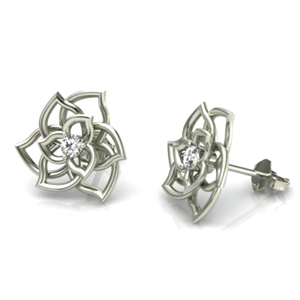14K White Gold 0.14ctw Flower Diamond Stud Earrings - Special Edition!