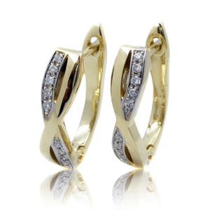 0.10 Carat Diamond Twist Hoop Earrings in 14K Gold