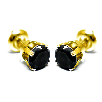 14K Gold 0.10ctw Black Diamond Stud Earrings