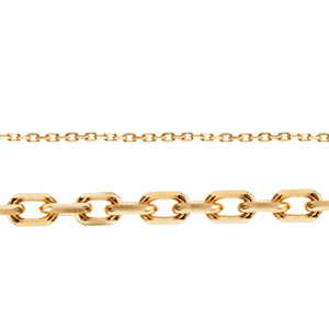"16"" Length 14K Yellow Gold Diamond Cut Cable Chain"