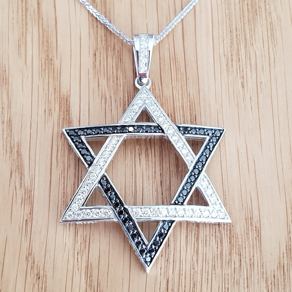 1.00ctw Star of David Black and White Diamond Pendant