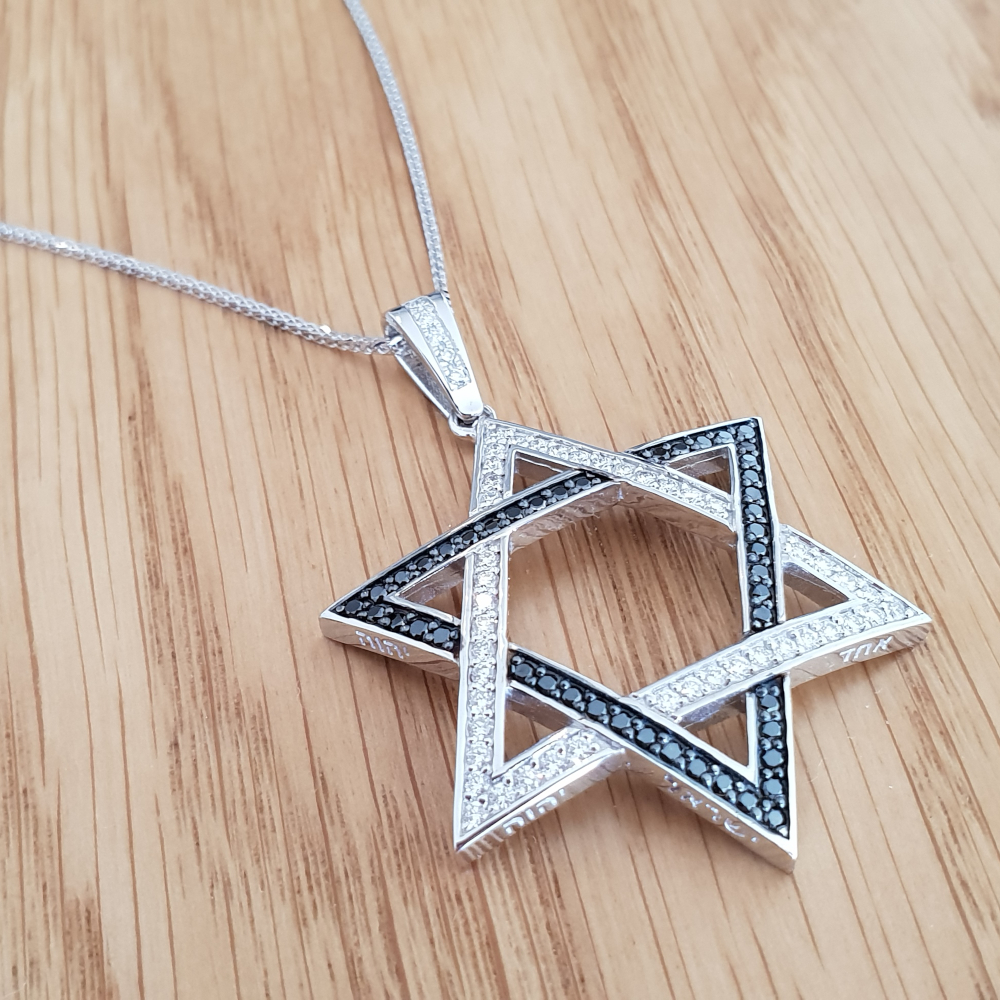 Realistic picture of 1.00ctw Star of David Black and White Diamond Pendant