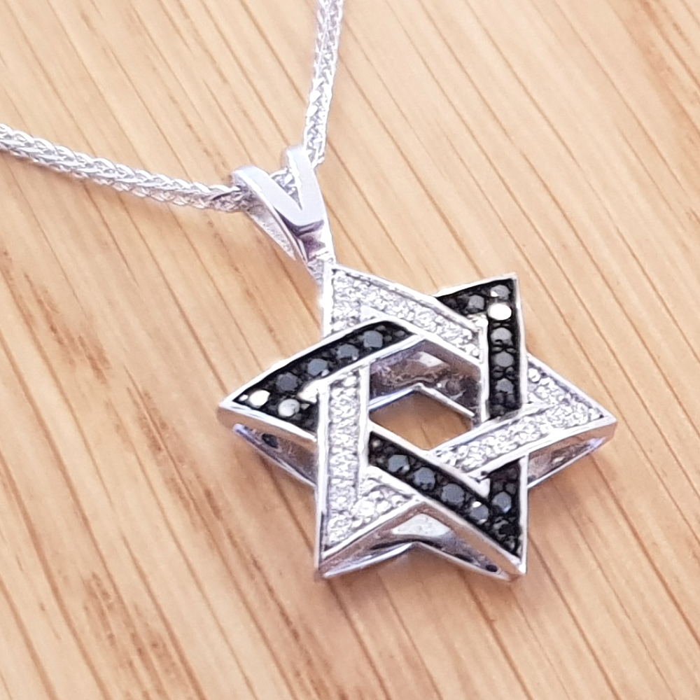 Black & White Diamond 0.24ctw Star of David Pendant in 14k White Gold