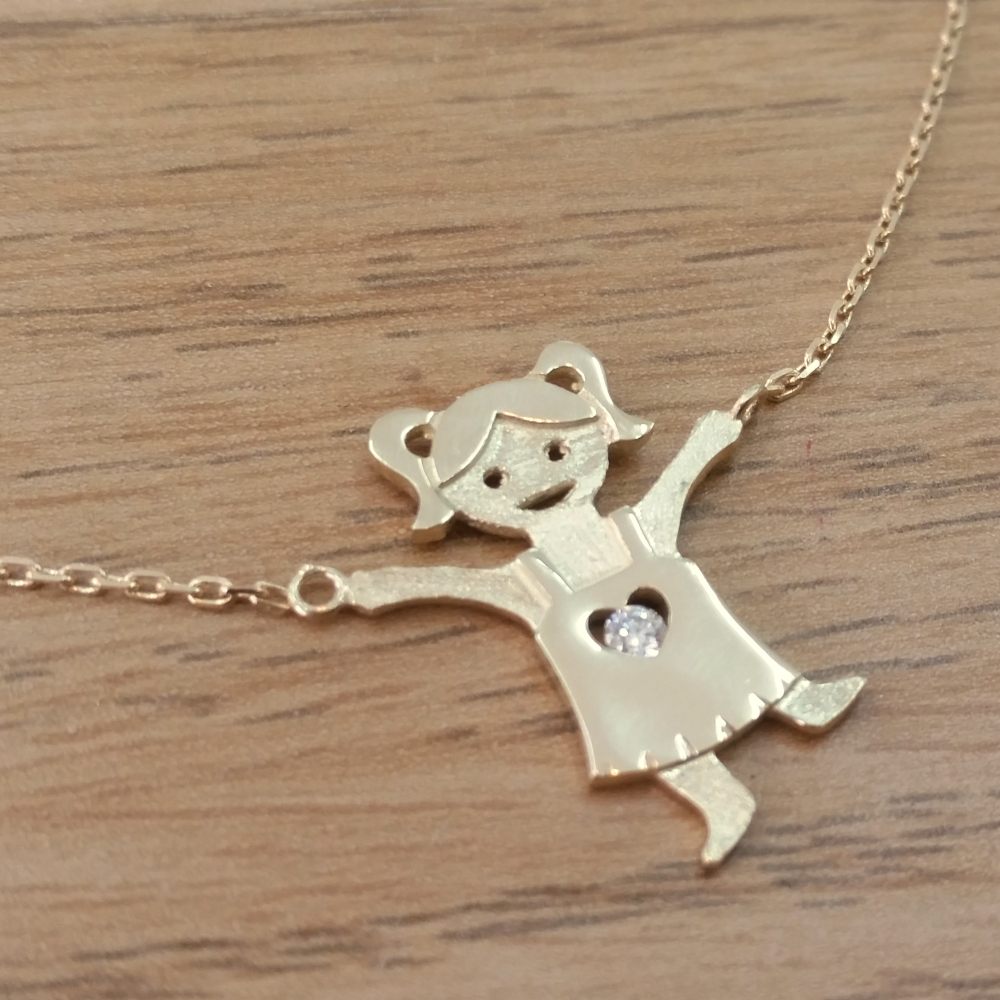14K Gold 0.03ctw Diamond Baby Girl Holding Chain