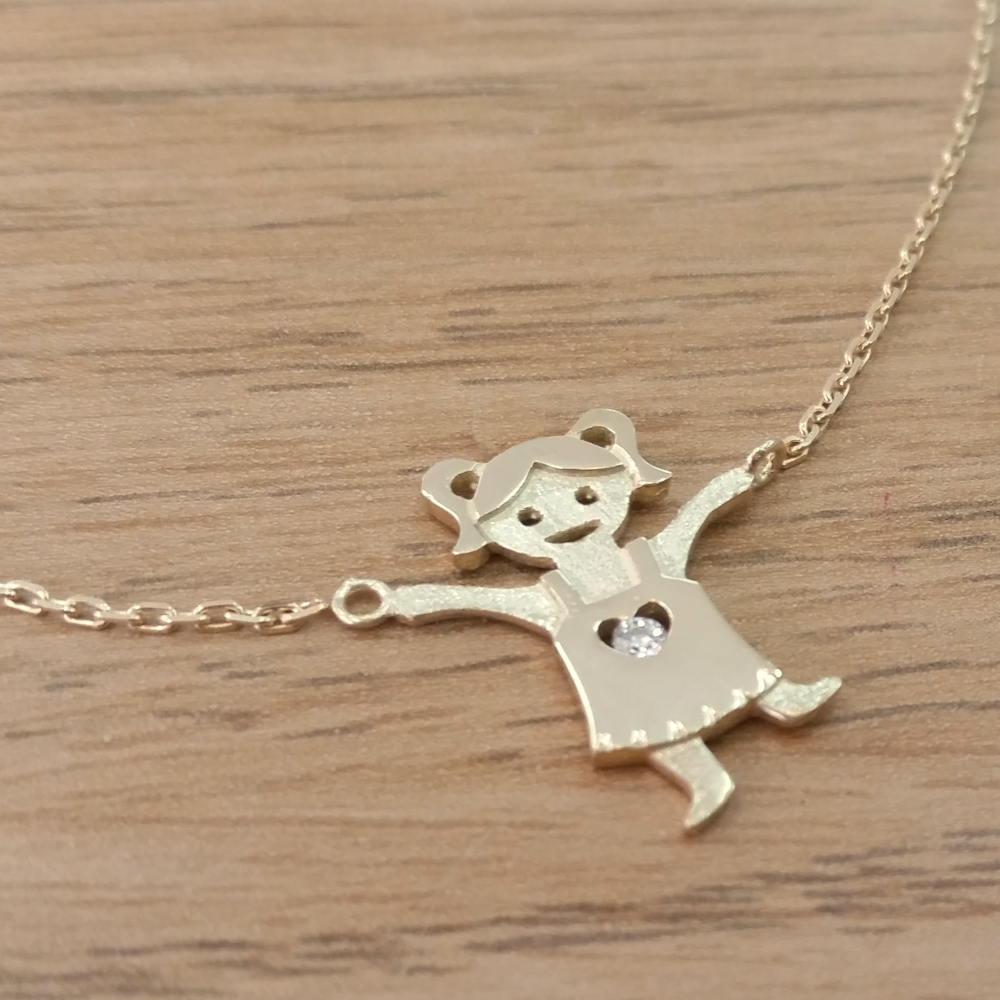 14K Gold 0.02ctw Diamond Baby Girl Holding Chain