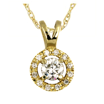 14K Gold 0.26tcw Diamond Halo Pendant