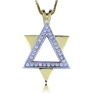 14K Gold 0.15ctw Star of David Diamond Pendant