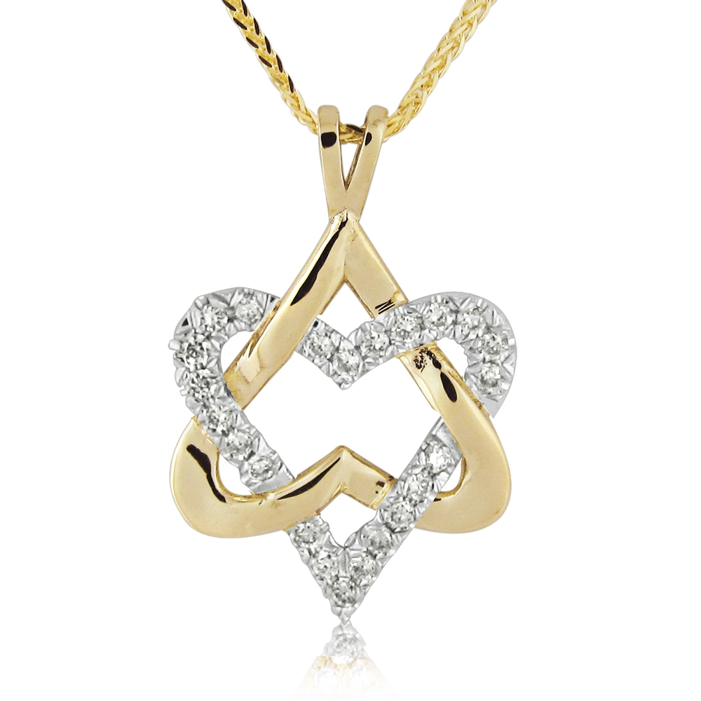 14K Gold 0.23ctw Unique Heart Star of David Pendant