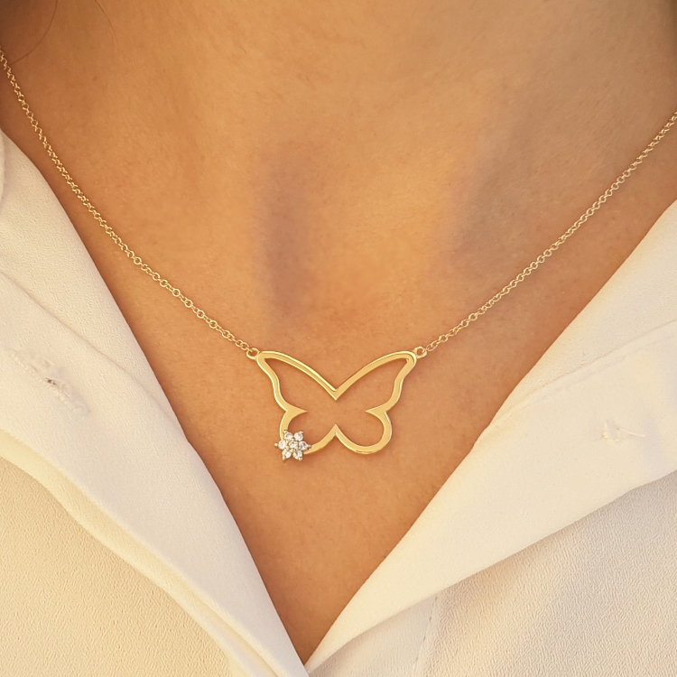 14K Gold 0.07ctw Butterfly Diamond Necklace