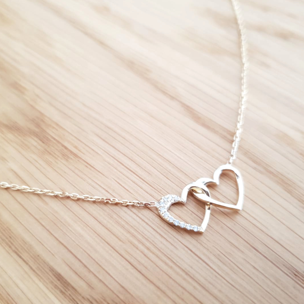 Unique Heart in Heart Diamond Necklace
