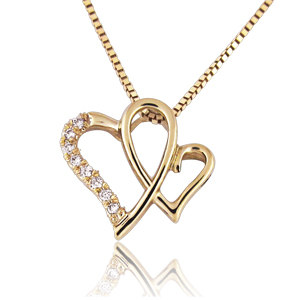 14K Gold 0.04ctw Heart-in-Heart Diamond Pendant