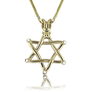 Unique Star of David Diamond Pendant Necklace