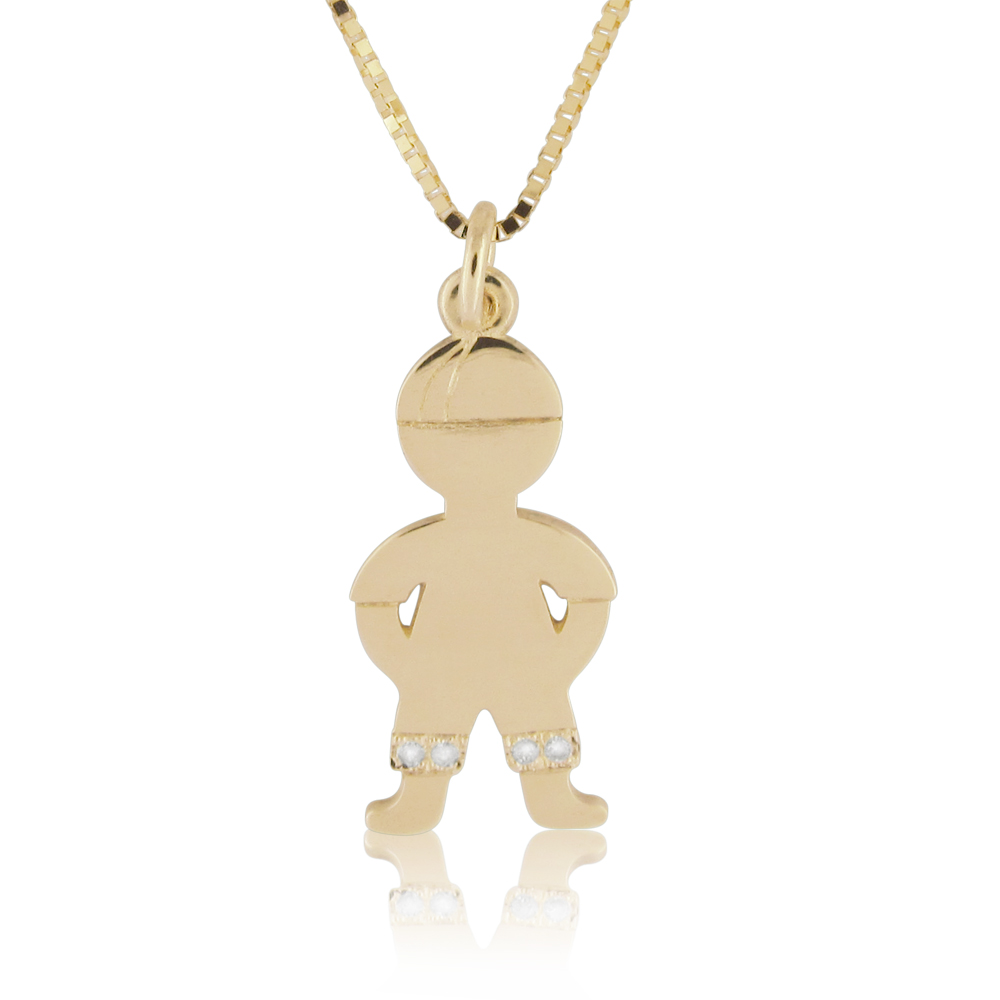 14K Gold 0.02ctw Diamond Baby Boy Pendant