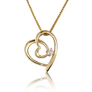14K Gold 0.03 carat Heart-in-Heart Diamond Pendant