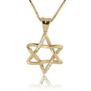 14K Gold 0.05ctw Star of David Diamond Pendant