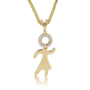 14K Gold 0.04ctw Diamond Baby Girl Pendant