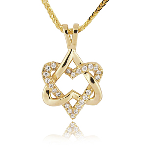 Diamond (0.11 ctw) Heart Star of David Pendant