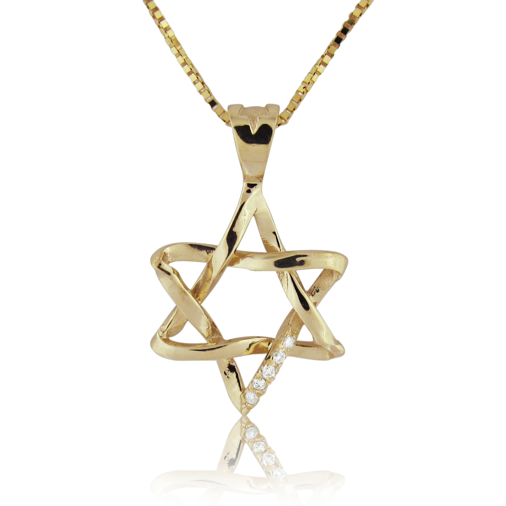 14K Gold 0.03ctw Star of David Diamond Pendant
