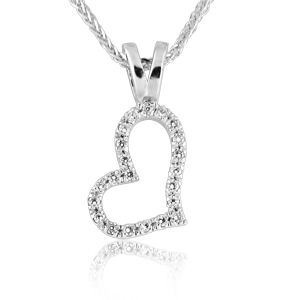 14K Gold 0.11ctw Heart Diamond Pendant