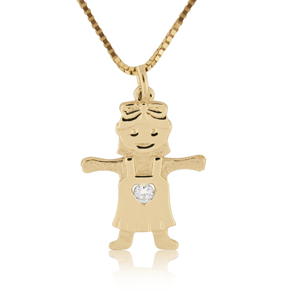 14K Gold 0.02ctw Diamond Baby Girl Pendant