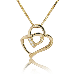14K Gold 0.02ctw Heart-in-Heart Diamond Pendant