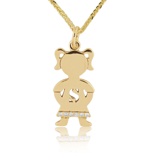 14K Gold 0.03ctw Diamond Baby Girl Name Pendant