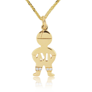 14K Gold 0.02ctw Diamond Baby Boy Name Pendant
