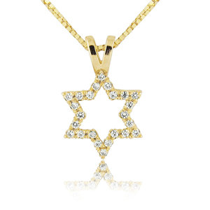 14K Gold 0.12ctw Star of David Diamond Pendant for Women