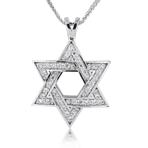 14K Gold 0.36ctw Star of David Diamond Pendant