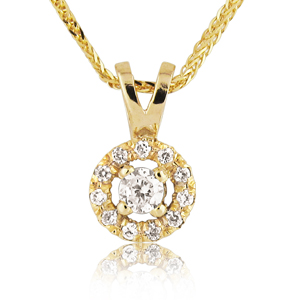 14K Gold 0.15tcw Diamond Halo Pendant