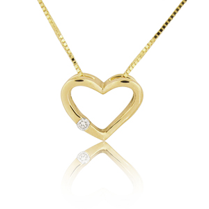 14K Gold 0.02ctw Mini Heart Diamond Pendant