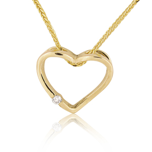 14K Gold 0.03ctw Heart Diamond Pendant