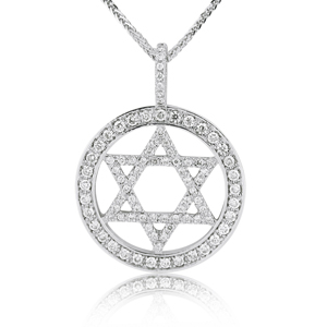 14K Gold 0.61ctw Star of David Diamond Pendant