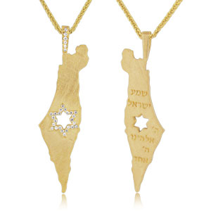 Israel Map Diamond Pendant