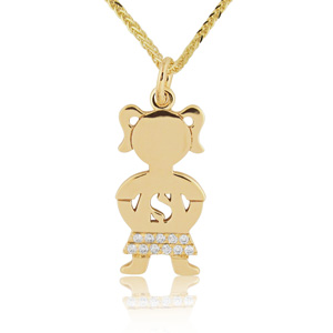 Diamond baby boy girl pendants necklaces 14k gold 005ctw diamond baby girl name pendant aloadofball Images